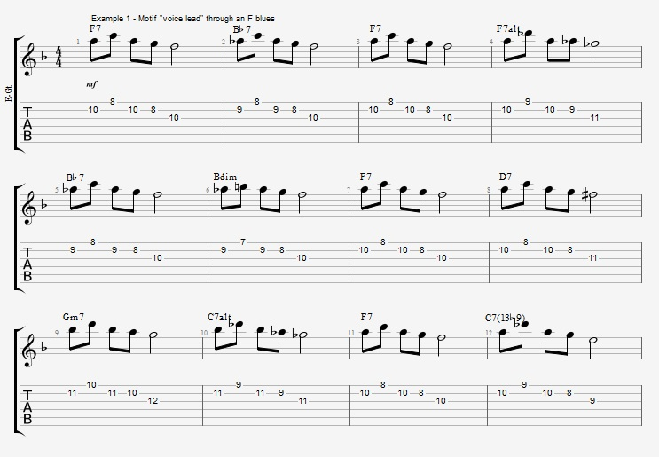 Motif Exercises - F Jazz Blues ex 1