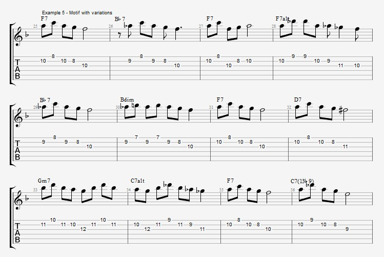 Motif Exercises - F Jazz Blues ex 5
