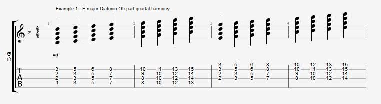 Jazz Chord Essentials - 4 part Quartal Harmony ex 1