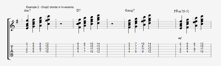 Jazz Chord Essentials - Drop 2 voicings part 1 - ex 2