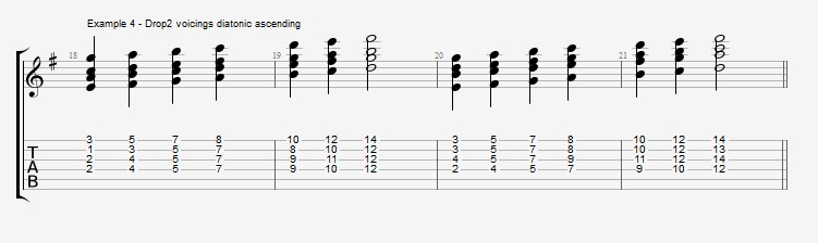 Jazz Chord Essentials - Drop 2 voicings part 1 - ex 4