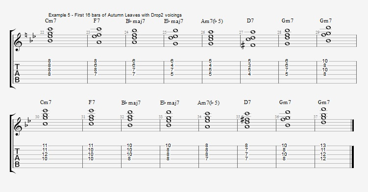Jazz Chord Essentials - Drop 2 voicings part 1 - ex 5
