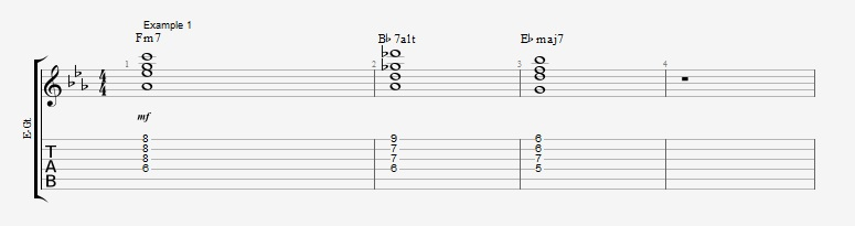 5 ways to play the same II V I chord voicings ex 1