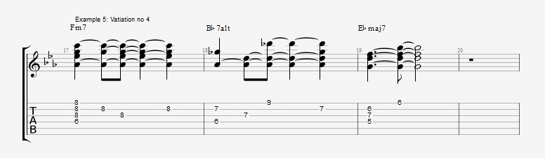 5 ways to play the same II V I chord voicings ex 5