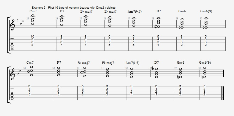 Jazz Chord Essentials - Drop 2 voicings part 2 ex 5
