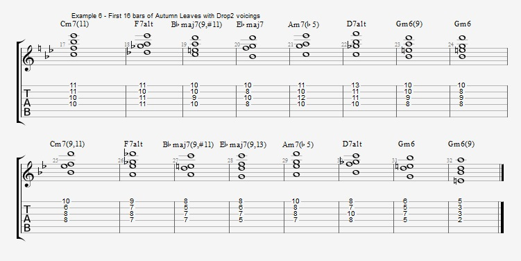 Jazz Chord Essentials - Drop 2 voicings part 3 - ex 6
