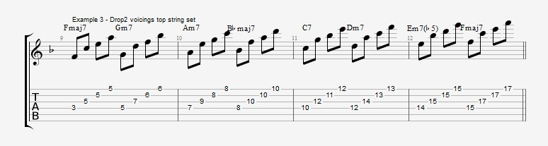 Drop2 voicings as Arpeggios - Ex 3