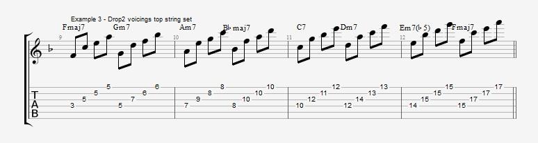 Drop2 voicings as Arpeggios - Ex 3