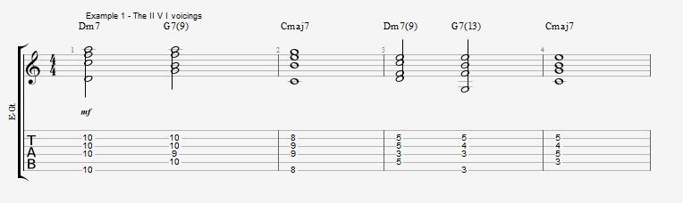 First II V I voicings ex 1