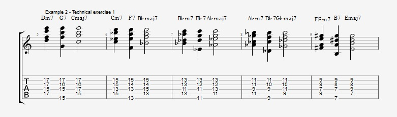 First II V I voicings ex 2