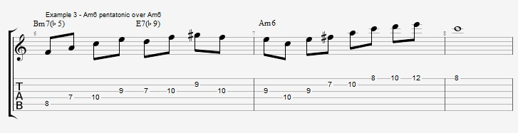 Minor 6th Pentatonic Scales ex 3