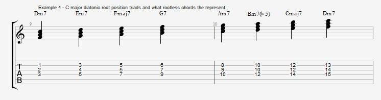 Rootless Voicings - Part 1 - Triads - ex 4