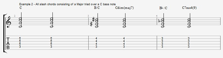 Slash Chords - All triads over bass notes - ex 2 2