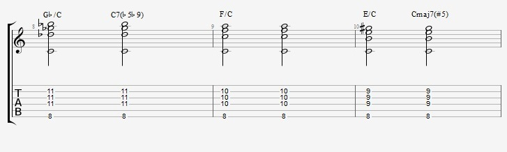 Slash Chords - All triads over bass notes - ex 2 4