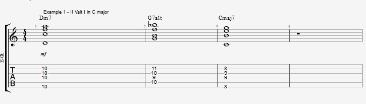 Soloing over a II V I with Pentatonic scales ex 1
