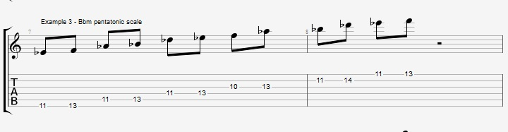 Soloing over a II V I with Pentatonic scales ex 3