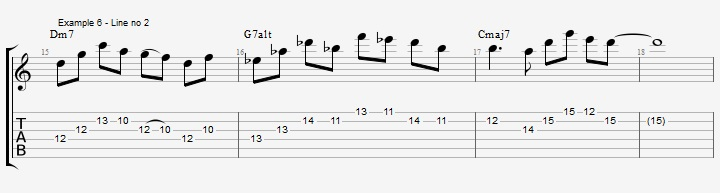 Soloing over a II V I with Pentatonic scales ex 6