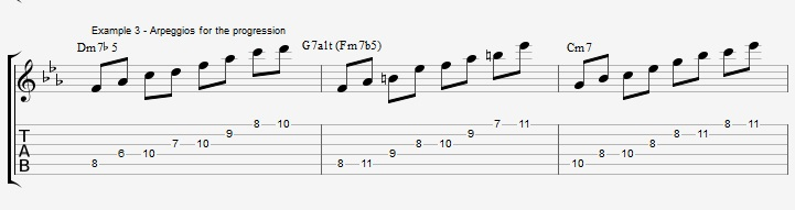How to improvise over a minor II V I with arpeggios ex 3