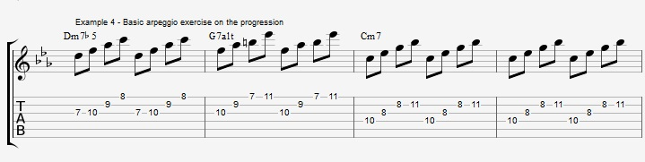 How to improvise over a minor II V I with arpeggios ex 4