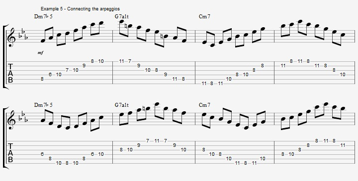 How to improvise over a minor II V I with arpeggios ex 5