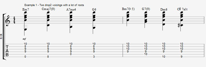 Play a standard with 2 types of Drop2 chords - ex 1