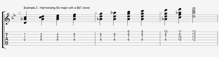 Bb Jazz Blues Chord Solo - Ex 2