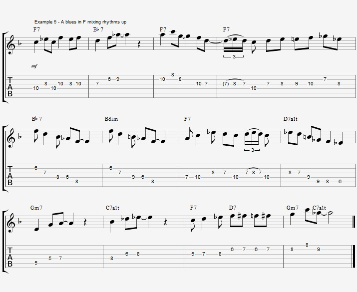 Rhythm exercise on a Jazz Blues ex 5