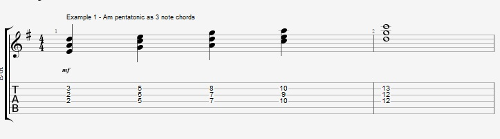 Using the pentatonic scale as chords - ex 1