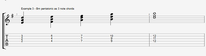 Using the pentatonic scale as chords - ex 3