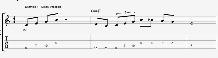10 arpeggios over a Maj7 chord 1 - ex 1