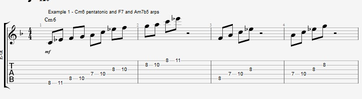 Minor 6th Pentatonics on an F blues - ex 1