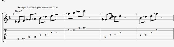 Minor 6th Pentatonics on an F blues - ex 2