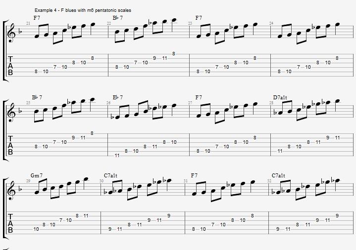 Minor 6th Pentatonics on an F blues - ex 4