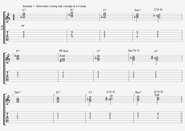 C Jazz Blues with triad voicings - ex 1