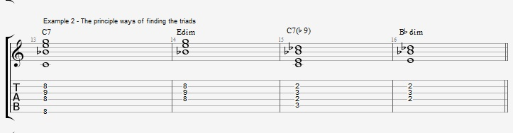 C Jazz Blues with triad voicings - ex 2