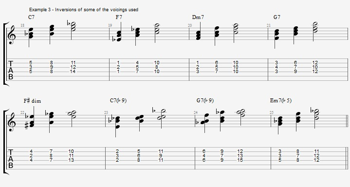 C Jazz Blues with triad voicings - ex 3