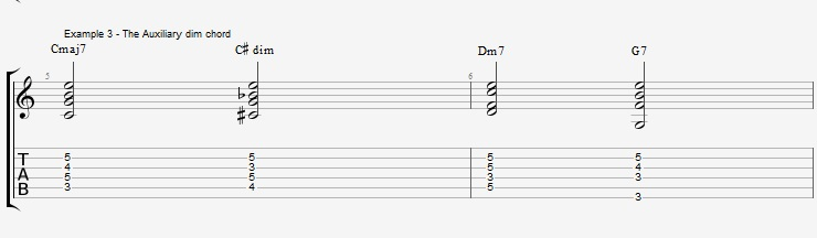 Jazz Chords 10 variations of a I VI II V turnaround - ex 3