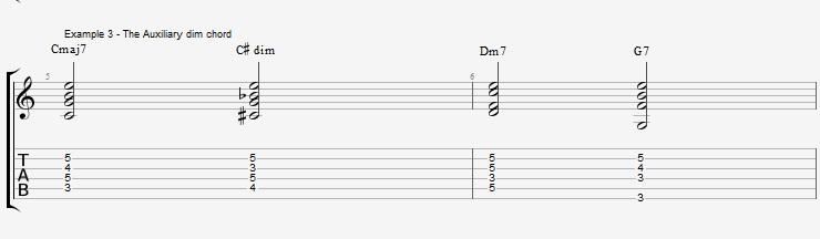 Jazz Chords 10 variations of a I VI II V turnaround - ex 3