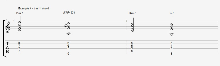 Jazz Chords 10 variations of a I VI II V turnaround - ex 4
