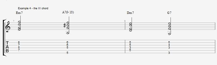 Jazz Chords 10 variations of a I VI II V turnaround - ex 4