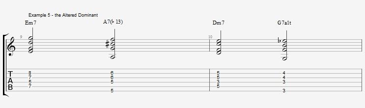 Jazz Chords 10 variations of a I VI II V turnaround - ex 5