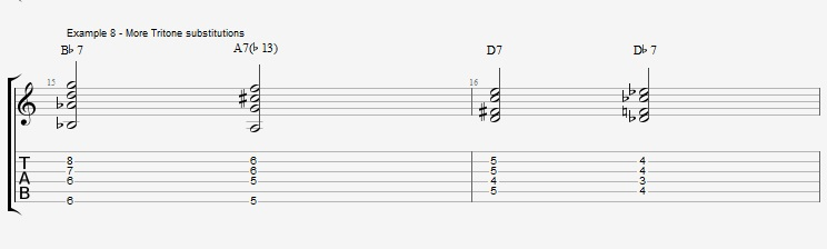 Jazz Chords 10 variations of a I VI II V turnaround - ex 8