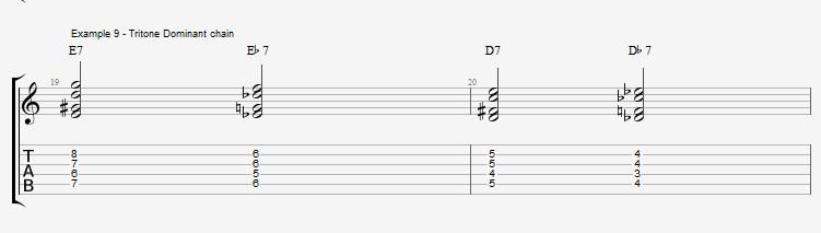 Jazz Chords 10 variations of a I VI II V turnaround - ex 9