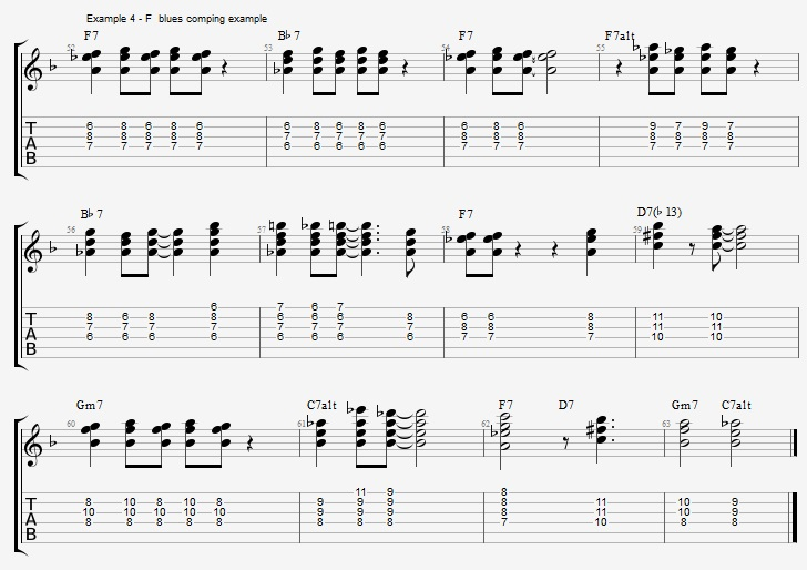 F Jazz Blues Comping - Jazz Chords and Concepts - Guitar Lesson ...
