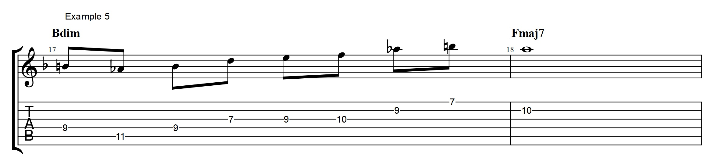 Secret to play over diminished chords jens larsen the material i am using on the bdim is really spelling out an e7b9 e7b9 is of course also what you are left with if you take an a harmonic minor scale hexwebz Choice Image