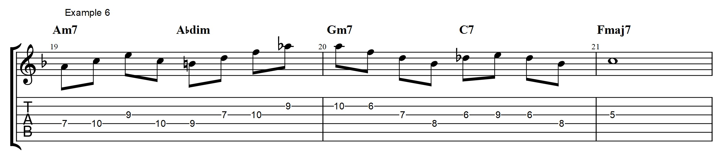 Secret to play over diminished chords jens larsen triad which is followed by a dim arpeggio from b to ab the ab is then resolved to a on the gm7 the a is then used as a top note in an bbmaj7 arpeggio hexwebz Choice Image