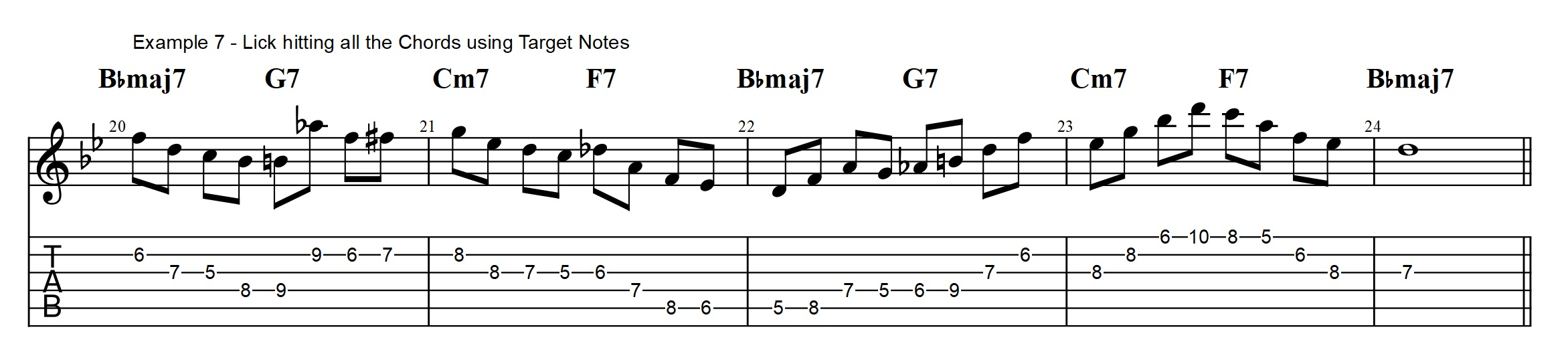 3 types of rhythm changes licks you need to know bebop guitar to build a vocabulary for this type of playing you need to work on having simple 4 note phrases that you can use to aim for the target notes in the next hexwebz Image collections
