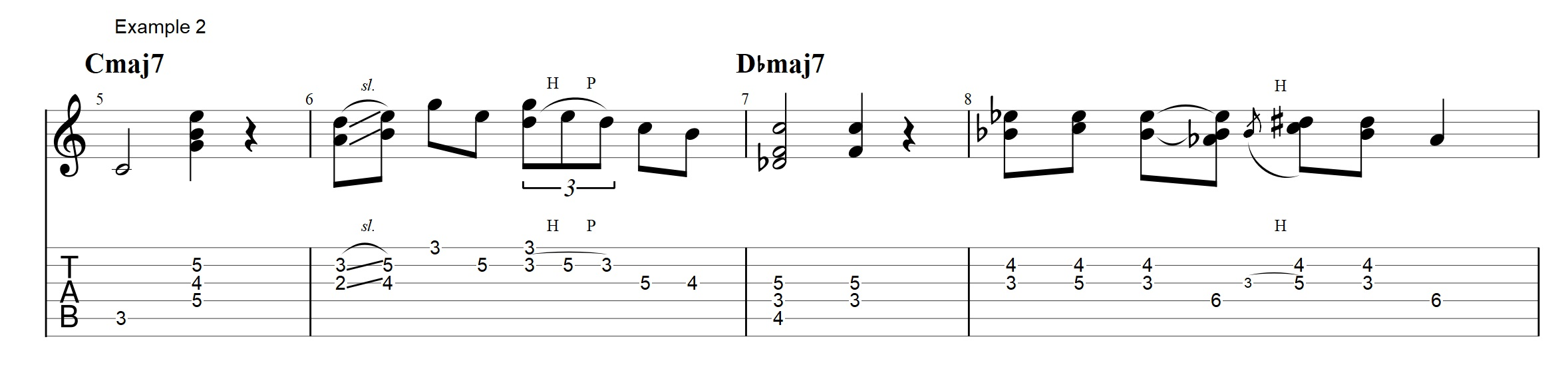 Jazz chords archives jens larsen the important thing to notice here is that the chords are played in the begining of each chord to state the harmony the variations that are used are not hexwebz Gallery
