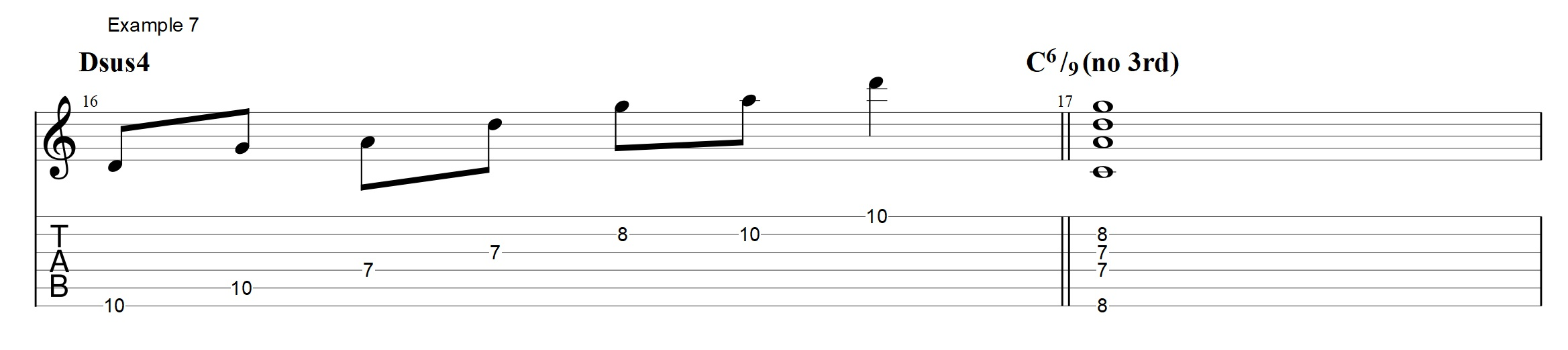 Jazz guitar licks archives jens larsen chord this voicing is not a complete chord since it does not contain a 3rd it is how ever easy to add a 3rd on the a string in the 7th fret hexwebz Image collections